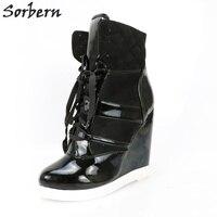 Sorbern/Черные ботильоны на танкетке, женская обувь, модная дизайнерская обувь, модель 2018 года, цвета «сделай сам», ковбойские ботильоны, женска
