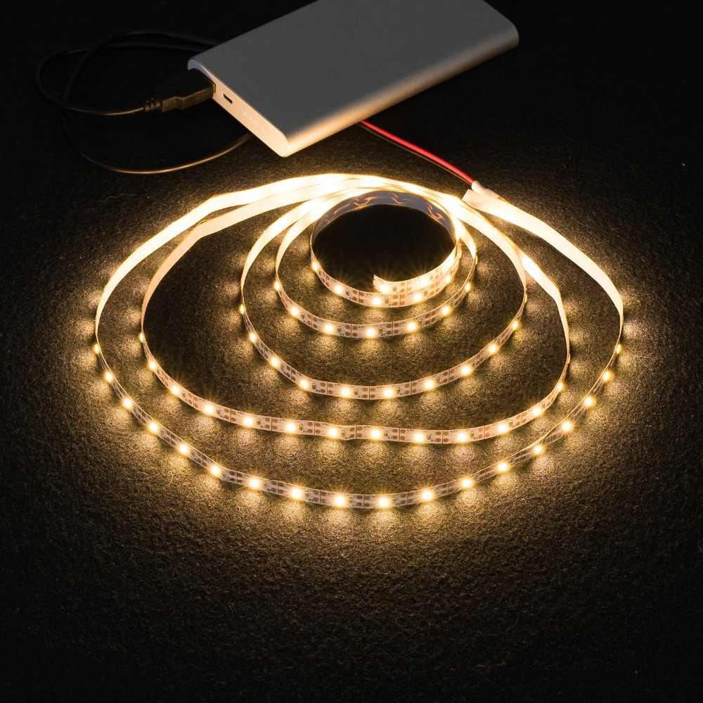 Ruban à bandes lumineuses, ruban à bande lumineuse de la mode USB 2835SMD DC5V ruban à bande de LED Flexible RGB 0.5M 1M 3M 4M 5M ruban à diodes rétro-éclairé pour écran de bureau