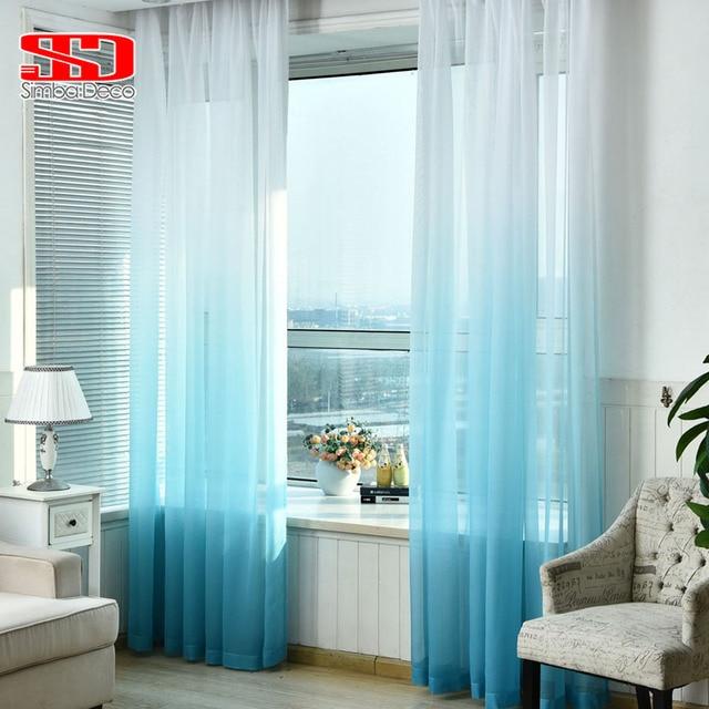 Gut Farbverlauf Blau Tüll Vorhänge Für Wohnzimmer Kinder Schlafzimmer Voile  Schleier Futter Sheer Vorhang Einzigen Panel Fenster