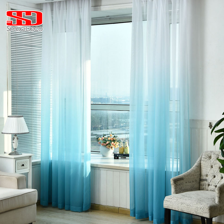 Blue curtains for living room - Gradient Blue Tulle Curtains For Living Room Kids Bedroom Voile Veil Lining Sheer Curtain Single Panel
