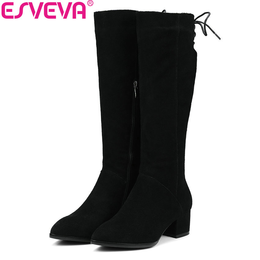 ESVEVA 2018 Women Boots Handmade Pointed Toe Over The Knee Boots Cow Suede+PU Square High Heels Warm Fur Ladies Boots Size 34-39 esveva 2018 women boots zippers black short plush pu lining pointed toe square high heels ankle boots ladies shoes size 34 39 page 6