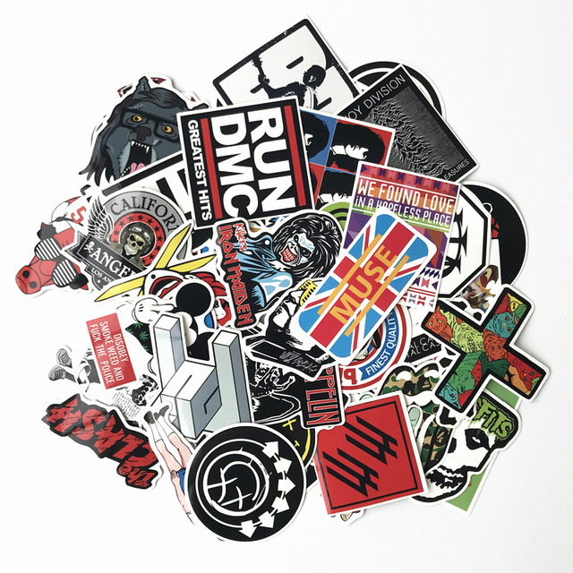 new 60pcs hip hop rock band sticker metal punk trend trolley case suitcase refrigerator bicycle motorcycle sticker kids sticker