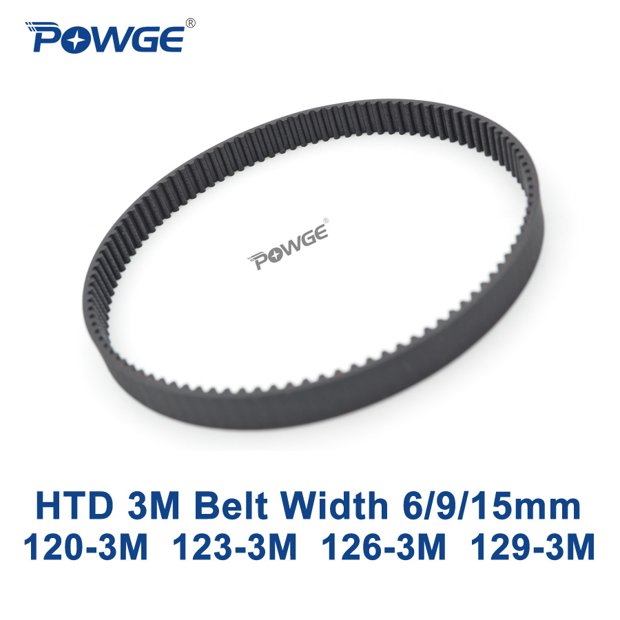 POWGE Arc HTD 3M Timing belt C= 120 123 126 129 width 6/9/15mm Teeth 40 41 42 43 HTD3M synchronous 120-3M 123-3M 126-3M 129-3MPOWGE Arc HTD 3M Timing belt C= 120 123 126 129 width 6/9/15mm Teeth 40 41 42 43 HTD3M synchronous 120-3M 123-3M 126-3M 129-3M