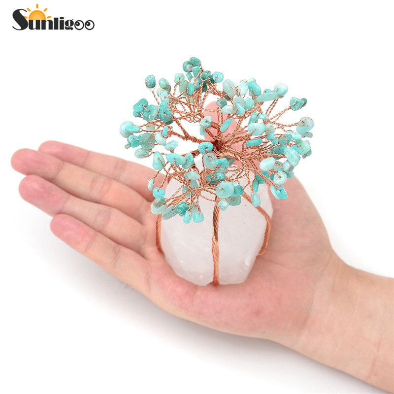 Sunligoo Chakra Healing Crystals Amazonite Copper Tree of Life Wrapped On Natural Clear Quartz Crystal Base