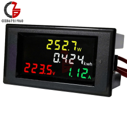 100A AC 80-450V LED Digital Voltmeter Ammeter AC 110V 220V Power Energy Voltage Current Meter Charger Tester Detector Monitor