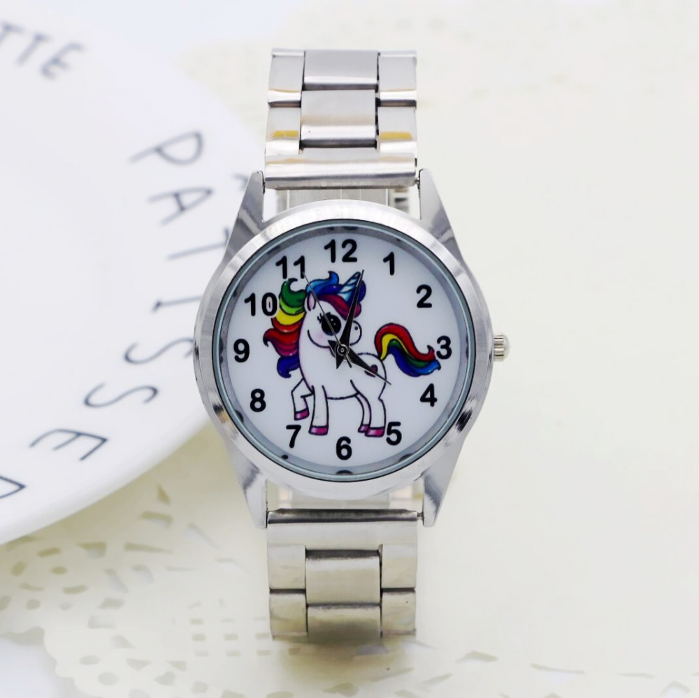 2019 New fashion lovely Cartoon unicorn watch girls boy Stainless steel watch Ladies fashion table ladies watch men women 1pcs2019 New fashion lovely Cartoon unicorn watch girls boy Stainless steel watch Ladies fashion table ladies watch men women 1pcs