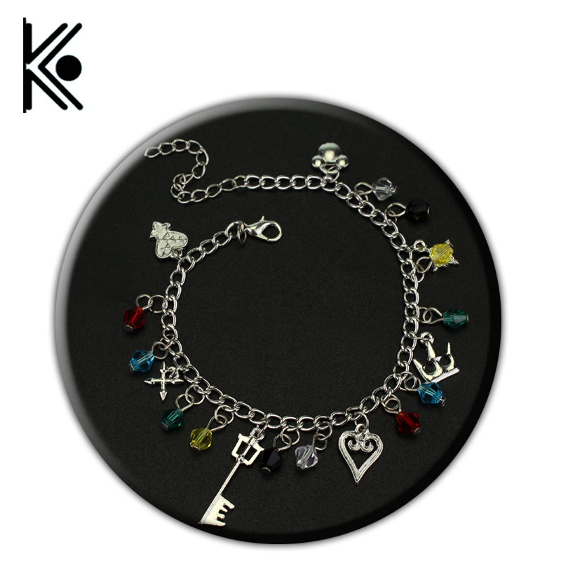 Kingdom Hearts Charm Bracelet: Caxybb Kingdom Hearts Sora Roxas Keyblade Crown Heart