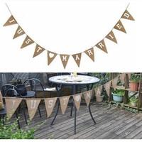 Tessuto di tela JUST MARRIED Striscione letter wedding Lino bandiere triangolari per rustic country vintage tema di nozze decorazione