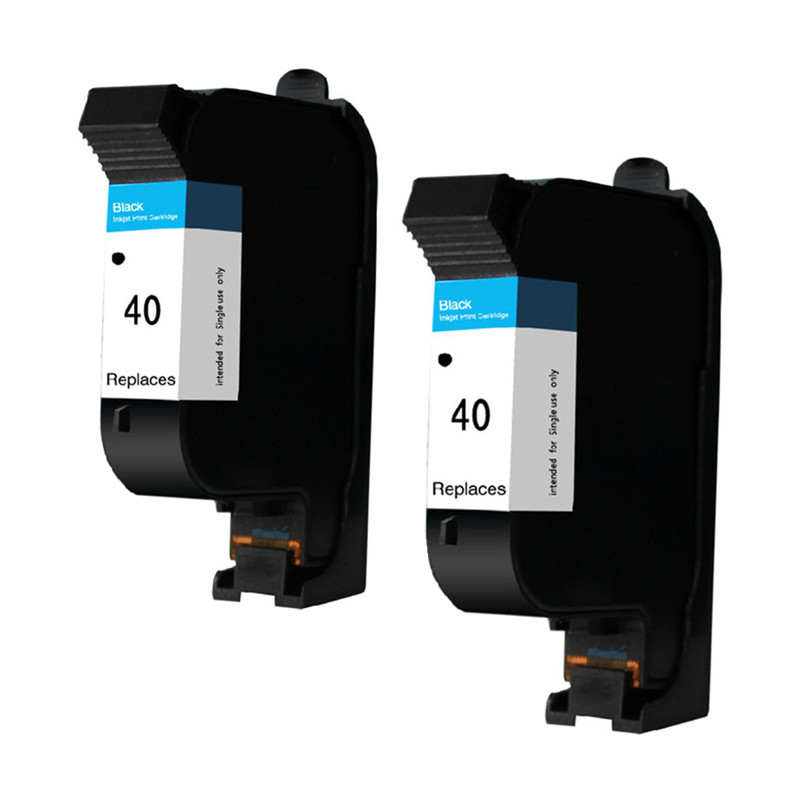 2PK Black 51640A <font><b>Ink</b></font> <font><b>Cartridges</b></font> Compatible For HP40 <font><b>40</b></font> Designjet 488CA 650c 1200C 230 250c 330 350c 430 Printer Inkjet image