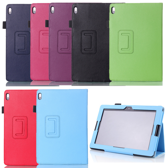 For Lenovo IdeaTab A10-70 Tab A10 A7600 10.1 inch Tablet Litchi Ultra Thin Folio Folding Slim PU Leather Stand Case Book Cover