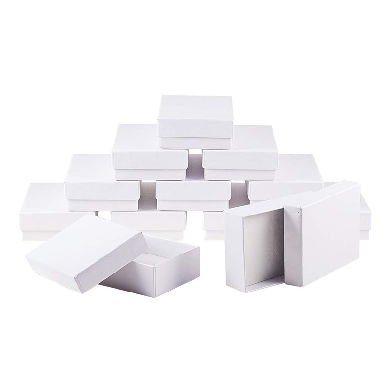 6pcs/lot 9x6.5x2.8cm Rectangle White Cardboard Jewelry Set Boxes For Necklaces Earrings Christmas Jewelry Display Packaging Box