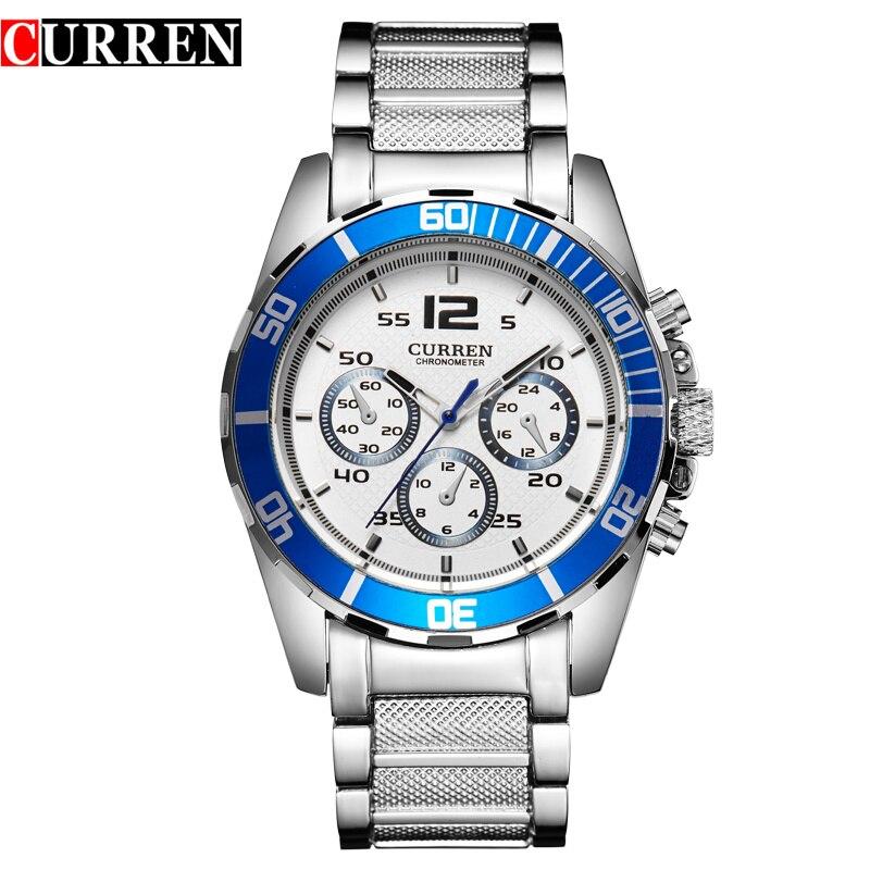 все цены на  CURREN Original Top Brand Men Luxury Watch Casual Full steel Calendar Wristwatches Quartz Watches relogio masculino 8073  онлайн