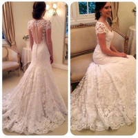 New Model Vestido De Noiva Elegant Short Sleeve Lace Wedding Dress 2017 Court Train White Lace