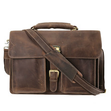 Genuine Leather Men Briefcases Handbag Document Brown Business Office Laptop Bag Leather Brief Cases Male Work Bag Attache Case