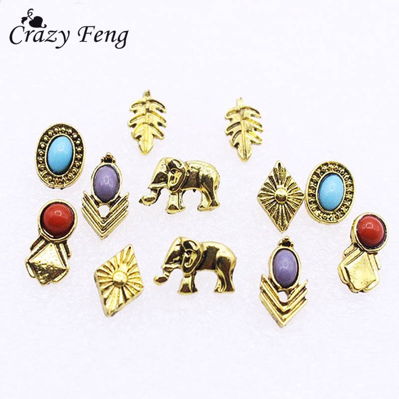 6 Pairs Blue Red Stone Elephant Stud Earrings Set For Women Men Gold Color Vintage Boho Small Earrings Studs Jewelry Accessories
