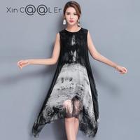 ファッション高品質2018新しい夏の女性のドレスリアルシルクプリントレトロドレス中国スタイルゆるいカジュアルノースリーブプラスサイ