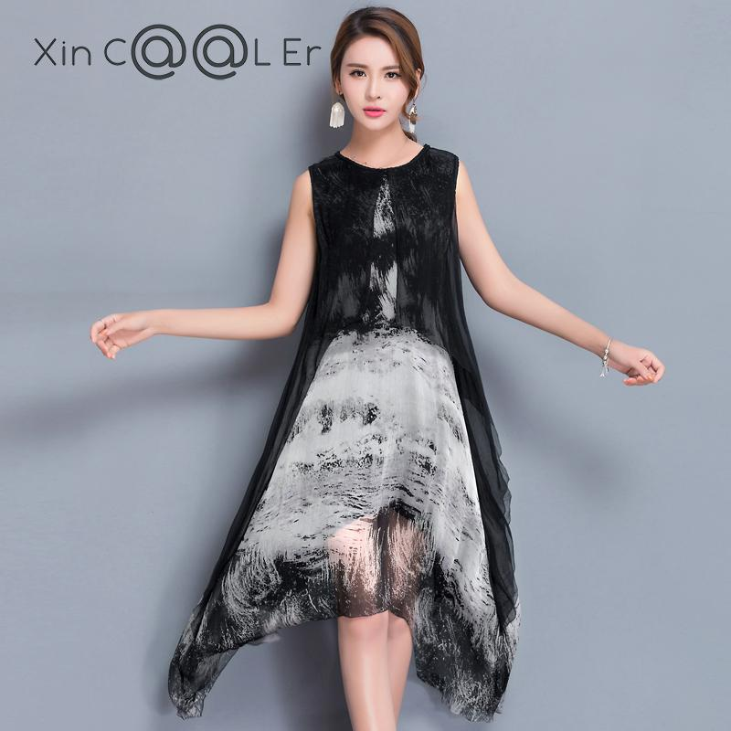 Fashion High Quality 2018 New Summer Women Dress Real Silk P