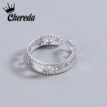 Chereda Simple Star Rings for Women   Hollow Finger Ring Promise Elegant Lady Wedding Ring Delicate Jewelry delicate solid color hollow out leaf cuff ring for women