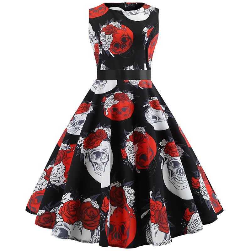 Natal Vestido para As Mulheres 2018 Fino Do Vintage Elegante Vestido de Festa Casual Vestidos Plus Size Vestidos Sem Mangas Verão Floral 50 s