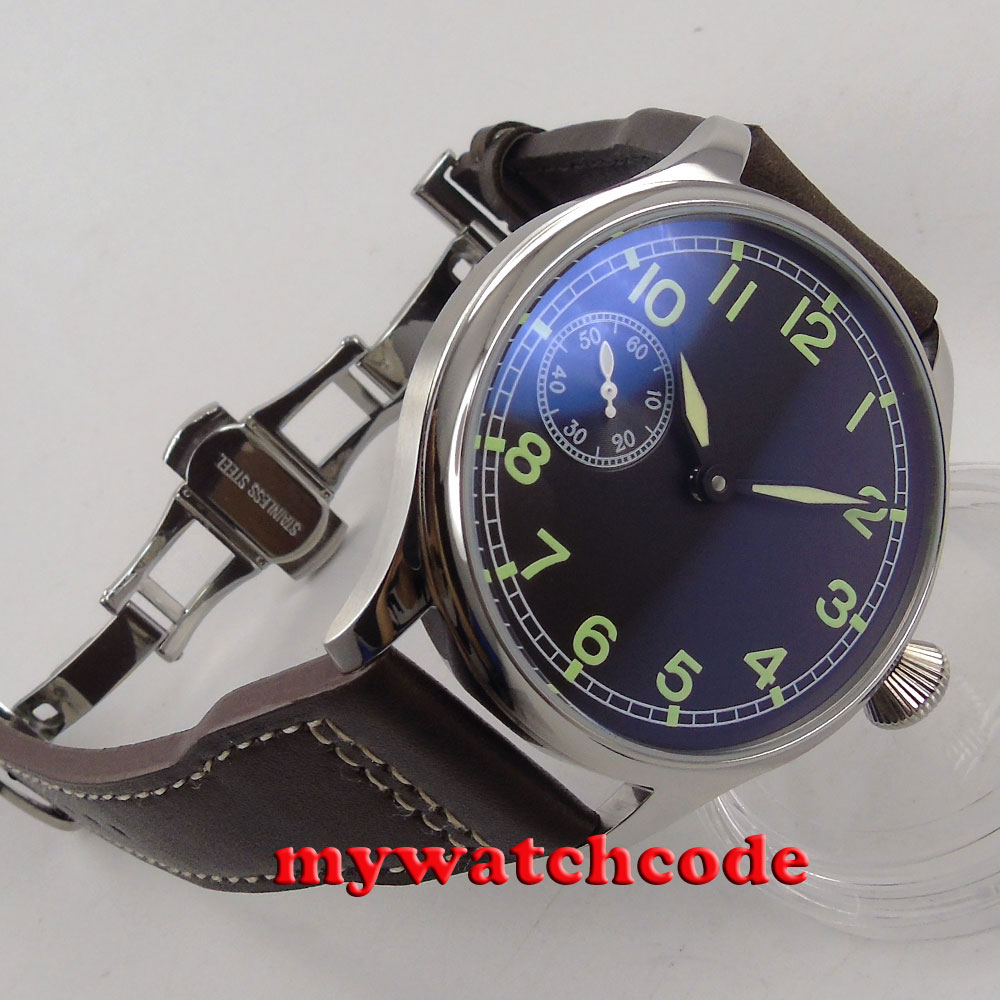44mm parnis black sterile dial green mark ST 3600 hand winding 6497 mens watch P5 цена и фото