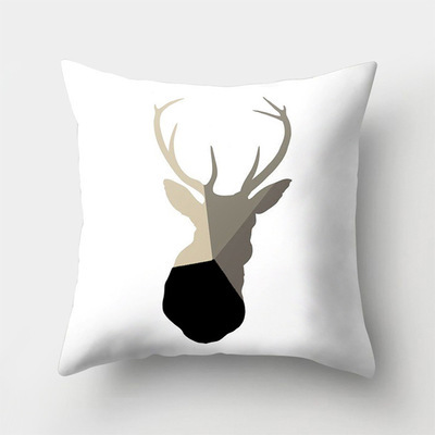 ZENGIA Nordic Geometric Cushion Cover Black Deer Pillow Cover Sofa Decorative Throw Pillows Decoration Home scandinavian Pillow