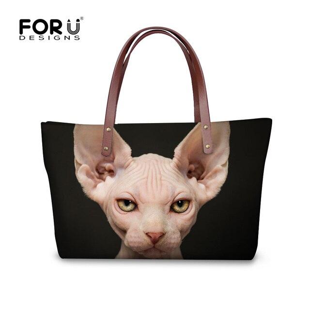 Forudesigns Women Handbags Canadian Hairless Cat Printing Black Womens Shoulder Bags Fans Tote Female Large