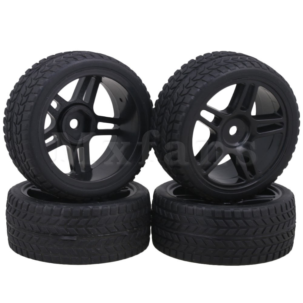Mxfans 12mm Hex Black Plastic 5 Star Wheel Rims Double Arrow Pattern Rubber Tires for RC