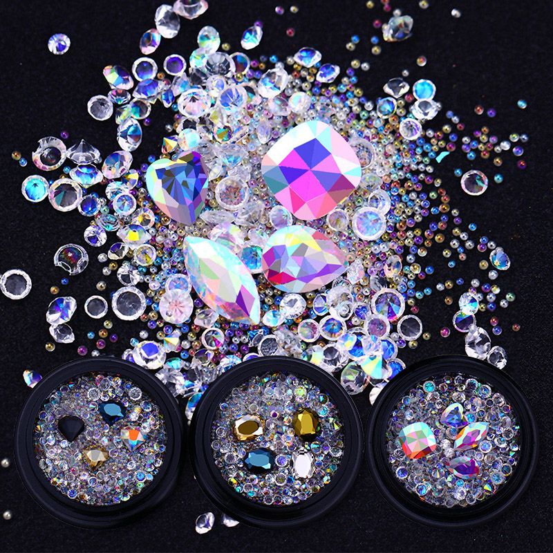 Mixed AB Color Rhinestone Colorful Micro Crystal Beads Sharp Bottom 3D Nail Decoration Manicure Nail Art Decor for DIY Nails 4 6 waterdrop shape 3d nail art sharp bottom glass rhinestone nail tip decoration phone decor accessories 10pc