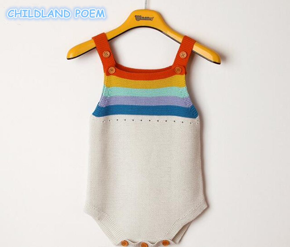 Newborn Baby Romper Boys Girls Baby Clothes Rainbow Woolen Knitted Baby Rompers Summer Infant Baby Boys Jumpsuit Overalls
