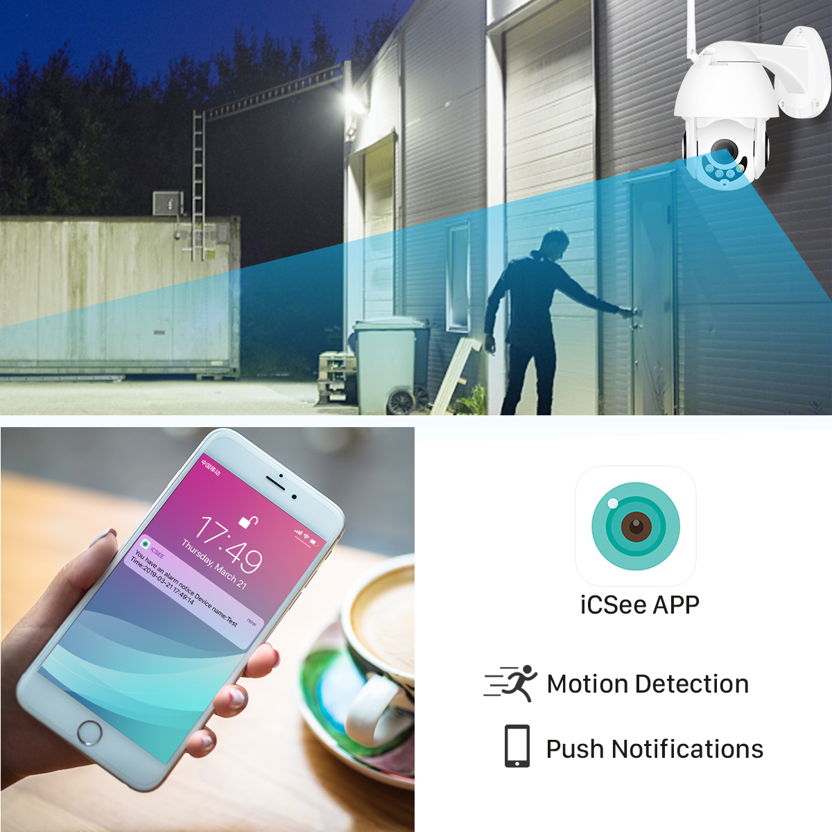 Super High Quality Security Camera IP66 Waterproof for Outdoor use from Gadget Mou. Great Icsee App with Push Notification and Motion Detection.