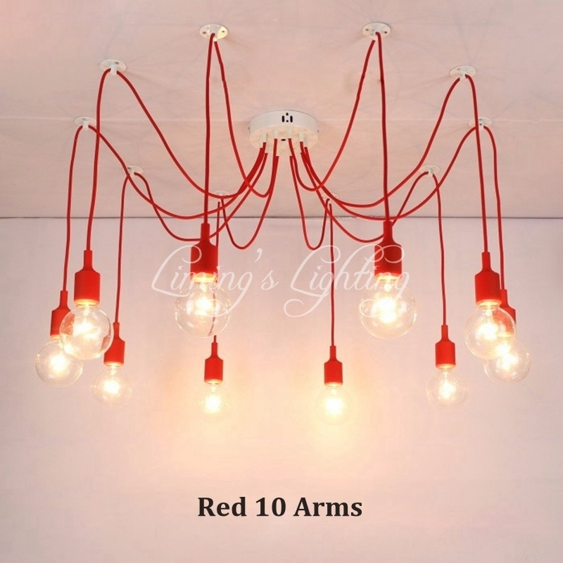 Modern DIY Pendant Light Lamp Colorful Multiple Long Cords Spider Light Drop Lights For Kitchen Living Room Bedroom Decoration