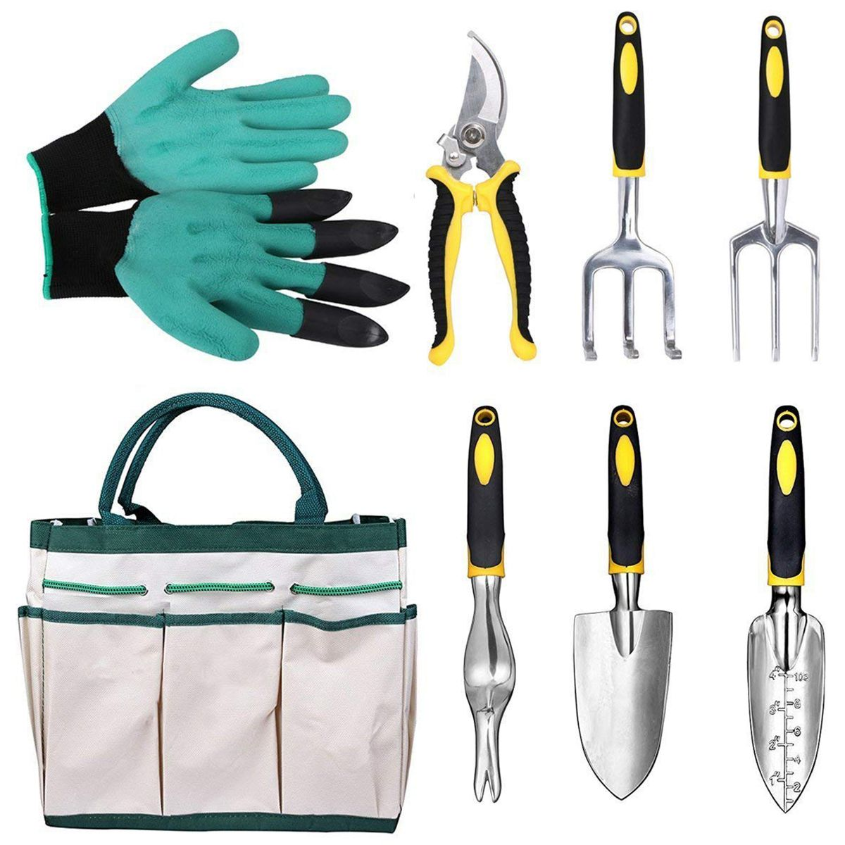 8 Pieces Aluminum Gardening Tools Garden Kit Hand Tools Transplanter Trowel Pruner Rake Cultivator Garden Genie Gloves Tool Set