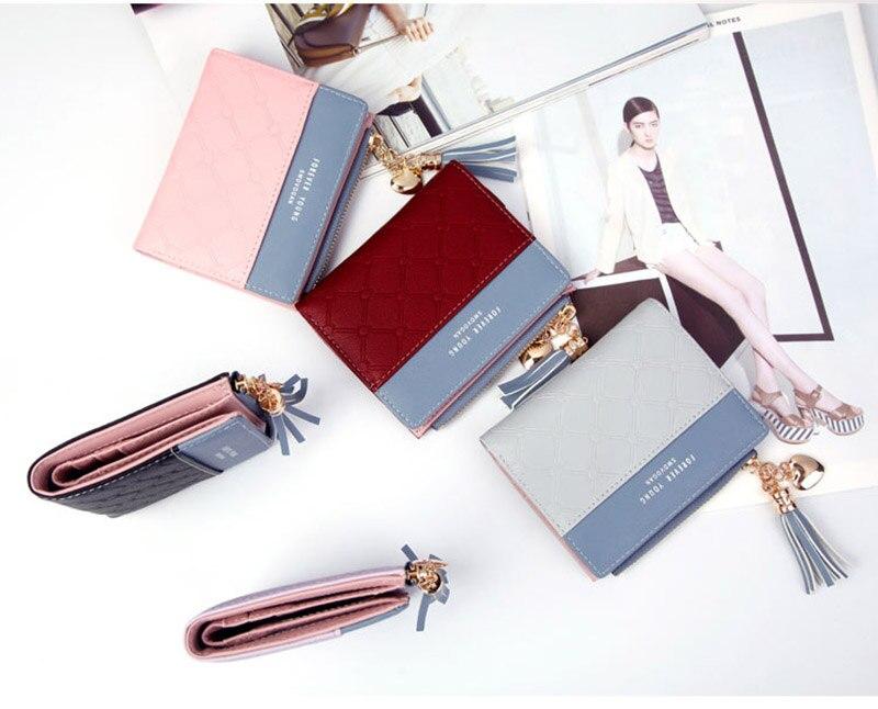 Leather Small Wallet Women Mini Women Wallets Purses Female Short Coin Zipper Purse Holder Tassel Zipper Button Bag (22)
