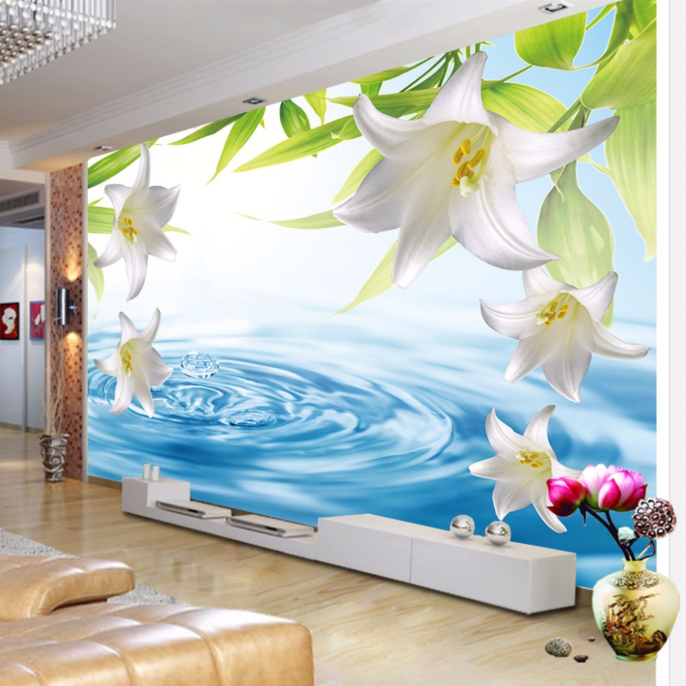 Custom Any Size 3D Photo Wallpaper Modern Lily Flower Stereoscopic Water Wave Living Room Sofa TV Backdrop Wallpaper Murals 3D(China (Mainland))