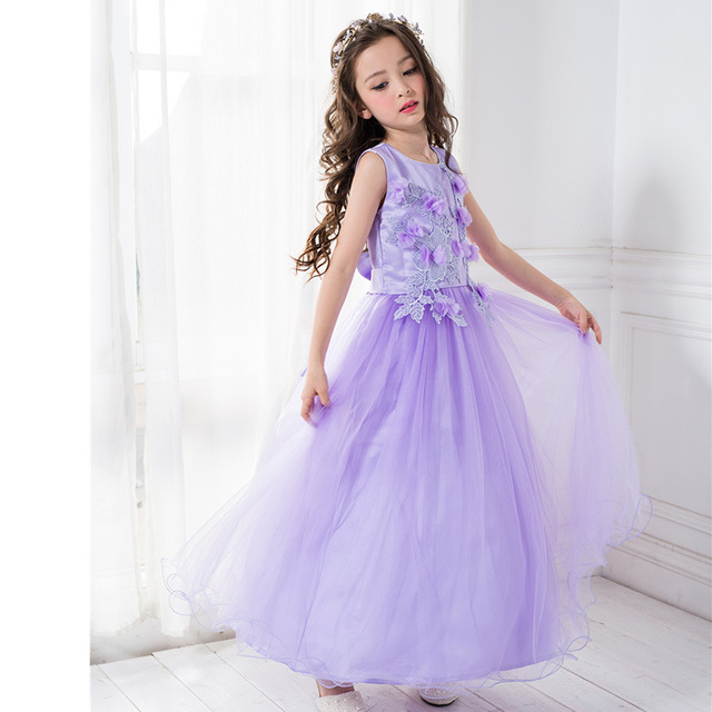 ea1259eeff Purple Long Girls Dress for Wedding Fancy Angel Flower Girl Vestido 2019  Gilrs Clothes For 3