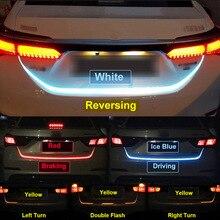 Дополнительный стоп-сигнал гибкий задний фонарь Светодиодные полосы багажника задний тормоз бег указатель поворота тип потока Ice Синий Красный Желтый Белый