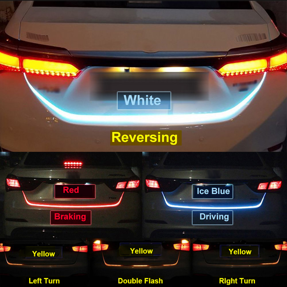 Adicionais Freio Cauda luz de stop Traseira Flexível LED Tira Tronco correndo Sinal de Volta Luz de Fluxo Tipo de Gelo Azul Vermelho Amarelo branco