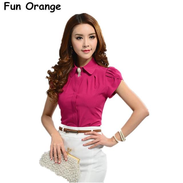 84b4489238 Fun orange new lady escritório desgaste do trabalho camisa das mulheres tops  borboleta turn-down