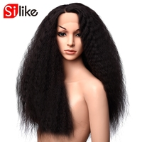 Silike curly wig 24 Inch L Part Front Lace Wigs Type Kanekalon Heat Resistant Hair Natural Black For Women