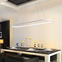 LED Oval Chandelier for Living room Kitchen Dining room remote control chandeliers Art Decor Office led ring long chandeliers