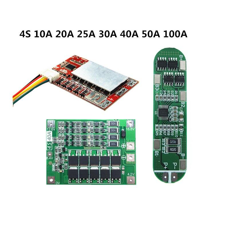 BMS 4S 10A 20A 25A 30A 40A 50A 100A For 3.7V Li-ion Battery Protection Board /3.2V LiFePo4 Battery Protection Board