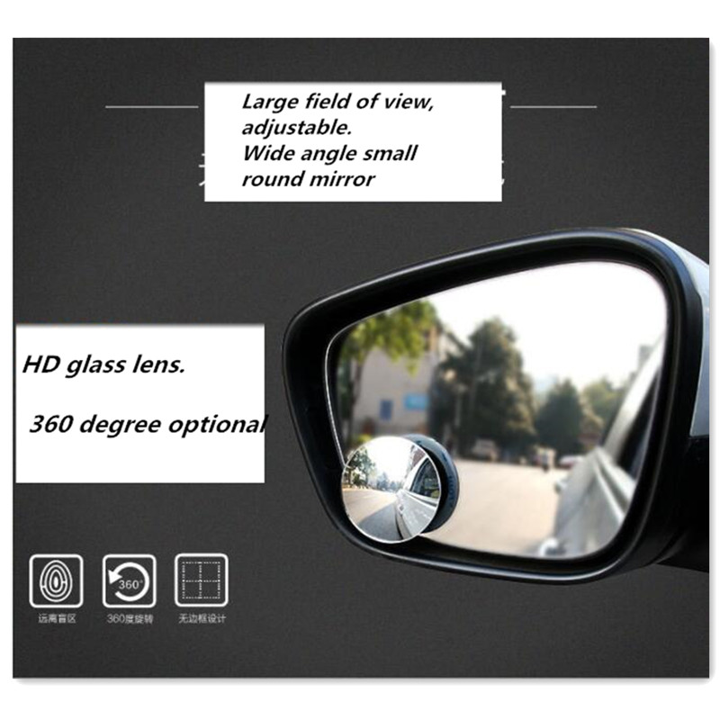 2PCS Car Round Blind Spot Mirror Accessories for audi a3 8p fiat 500 alfa romeo audi a5 bmw serie 1 seat leon for citroen c4 image