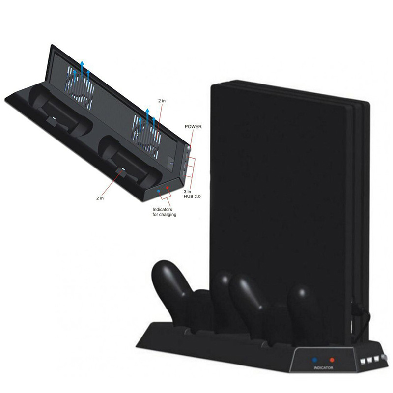 New USB Hub Vertical Stand with 2 Cooling Fans LED Indicator Dual Controller Charging Station Cooling Fan for PS4 Pro dual charging station for ps4 controller black 110 240v