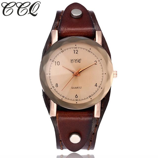 CCQ Brand Vintage Cow Leather Simple Bracelet Watch Unisex Women Men Casual Leat
