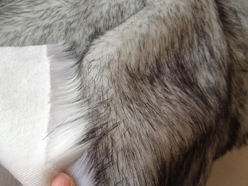 Искусственного меха имитация меха лисы белый окрашенная черные точки искусственный мех ткани telas tecidos stoffen DIY Длинные волосы плюшевая ткань