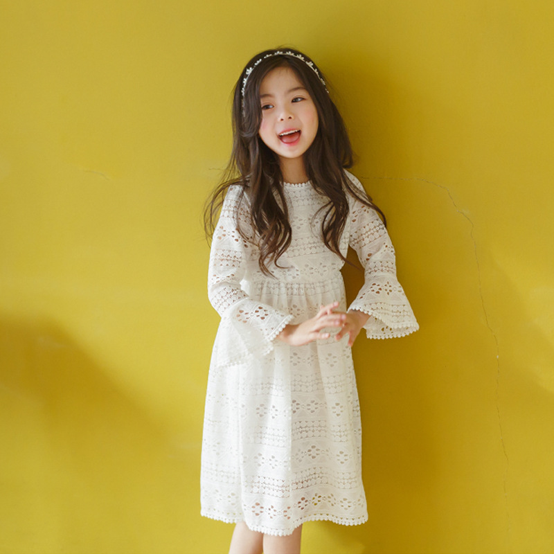 cotton lace hollow out dresses for girls flare long sleeve 2017 autumn white girls princess dress kids clothes girls clothing
