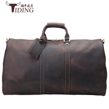 Men's big capacity genuine leather travel bag durable crazy horse leather travel duffle Real leather large shoulder weekend bag цена 2017