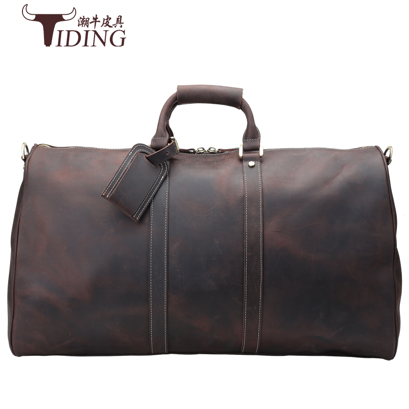 Mens big capacity genuine leather travel bag durable crazy horse leather travel duffle Real leather large shoulder weekend bag
