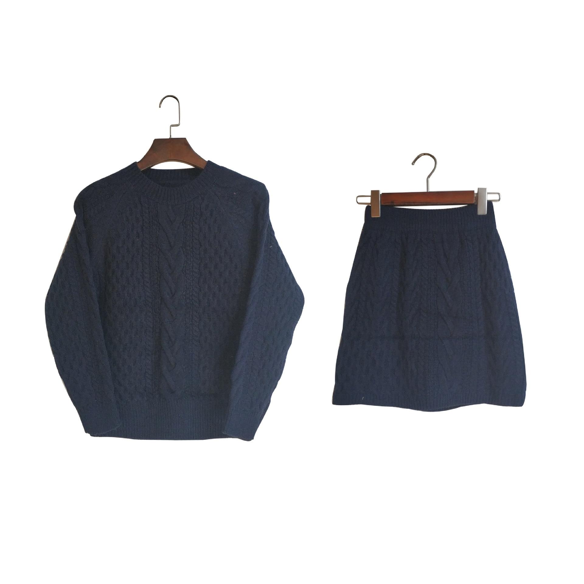 Poncho offre spéciale coton 2018 nouveau femmes tricot costume col rond décontracté à manches longues lâche pull + jupe deux pièces femme - 6