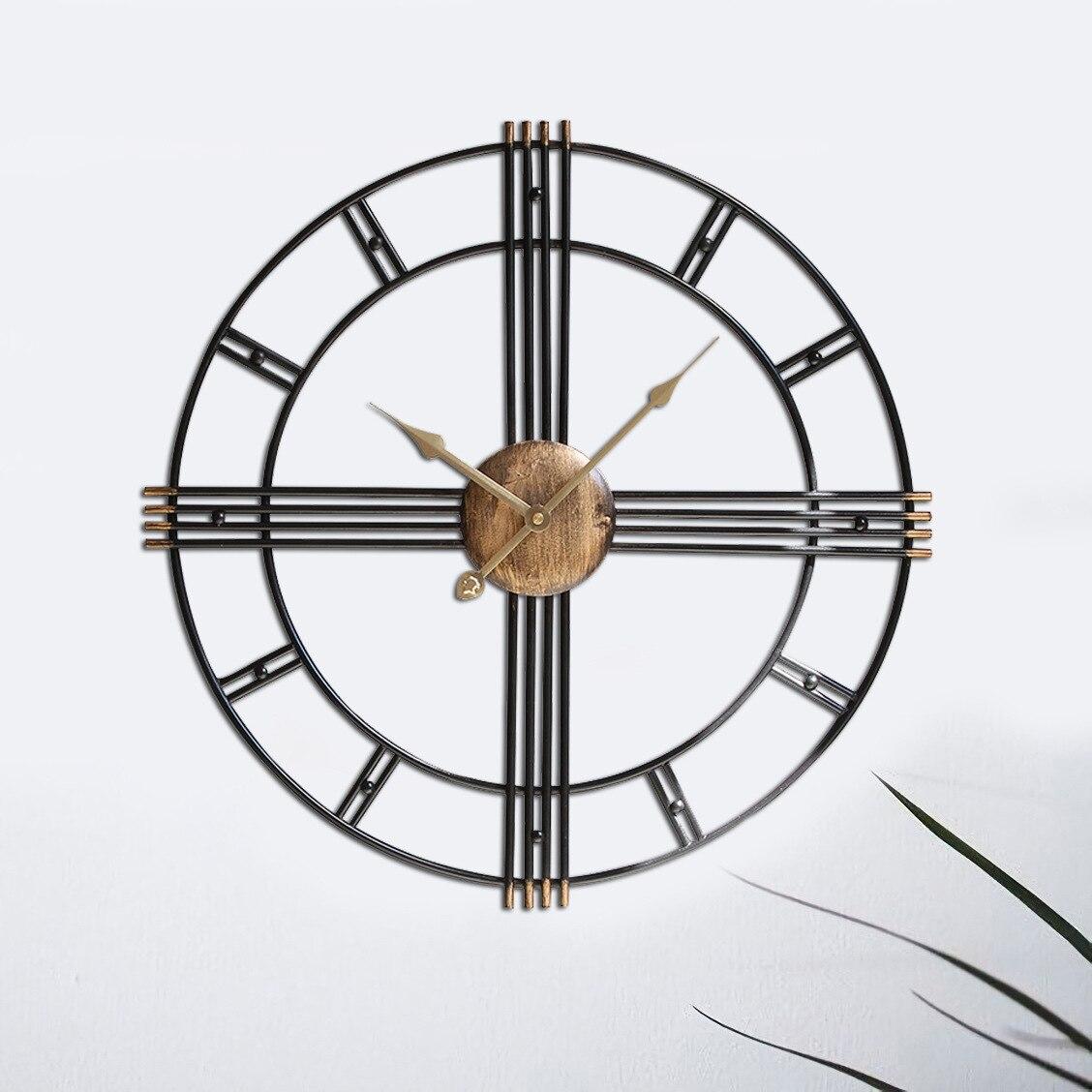 Vintage métal mur horloges Creative antique mur montres Fer nordique bref horloges cadeau idées grande horloge murale pour salon